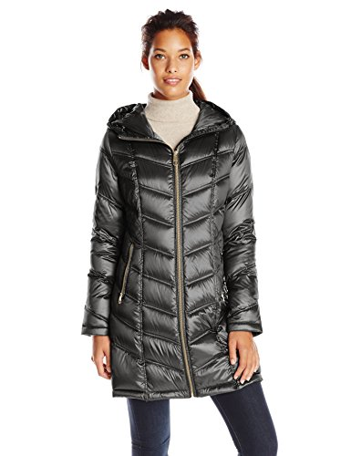 Hooded Mid Length Coat (Calvin Klein Women's Mid Length Packable Chevron Down Coat, Black, Medium)