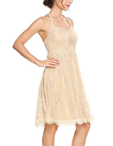 Ribbon O Floral Sleeveless Fit Waisted and Women's Neck Flare Lace Dress Midi ANGVNS Camel wqtIYxv5n