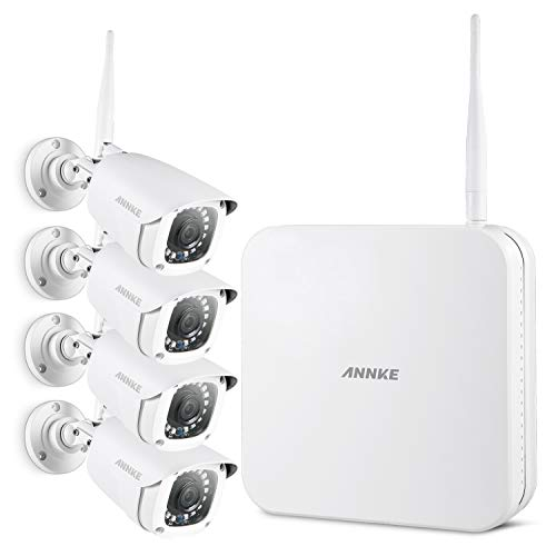 (ANNKE Wireless Security Camera System- FHD 1080P 8CH Wi-Fi NVR Video Surveillance System, 4×1080P Outdoor Bullet IP Cameras with Smart IR and 100ft Night Vision, Remote Access,NO)