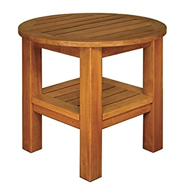Blue Star Group Terrace Mates 2 Shelf High Round End Table, Natural Wood Stain