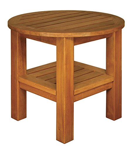 Blue Star Group Terrace Mates 2 Shelf High Round End Table, Natural Wood Stain ()