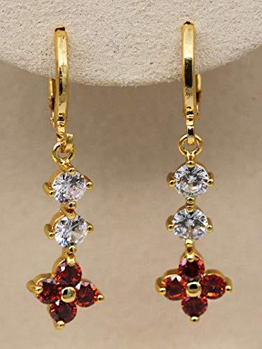 1set 18K Gold Filled - White Topaz Ruby Flower Clover String Pageant Hoop Earrings