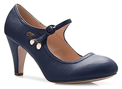 Olivia K Women's Kitten Heels Mary Jane Pumps - Adorable Vintage Shoes- Unique Round Toe Design with an Adjustable Strap Blue Size: 5.5