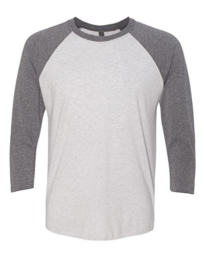 Next Level Apparel 6051 Unisex Tri-Blend 3 By 4 Sleeve Raglan - Premium Heather & Heather White, Extra Large