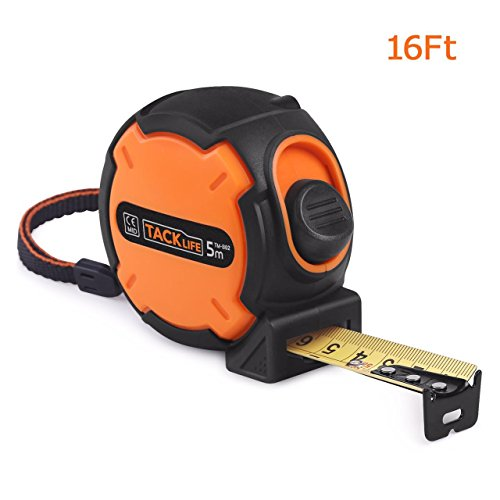 [Tacklife TM-B02 Classic Tape Measure 16Ft Self-Marking Ruler Metric Imperial Scale Retractable Measuring Tape with Wrist Strap for Construction, Home, Carpentry Measurement - Ideal Father's Day Gift] (Strap Measures)