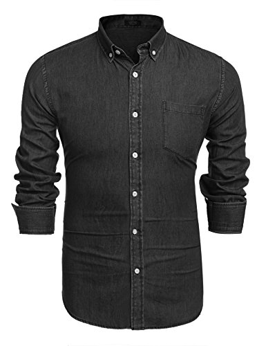 Coofandy Men's Long Sleeve Denim Shirt Casual Slim Fit Shirt with Pocket,Black,Small