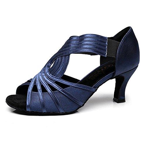 (GIY Women's Satin Latin Salsa Tango Heel Dance Sandals Ladies Morden Ballroom Party Dancing Shoes Navy Blue )