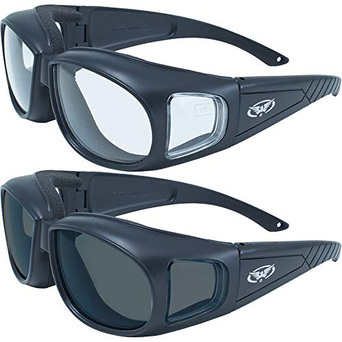 2 Motorcycle Safety Sunglasses Fits Over MOST Rx Glasses Smoke and Clear Day & Night Usage Meets ANSI Z87.1 Standards For Safety Glasses Has Soft Airy Foam Padding ()