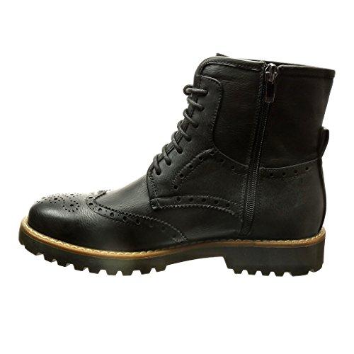 Angkorly - damen Schuhe Stiefeletten - Hohe - Spitze - Perforiert - Fertig Steppnähte Blockabsatz 3 CM - Schwarz