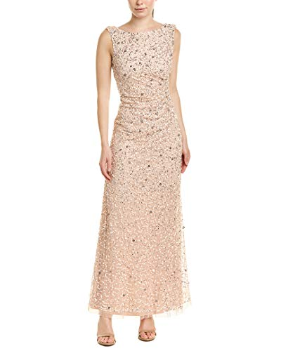 - Adrianna Papell Women's Sleevless Cowl Back Beaded Long Gown, Blush, 4