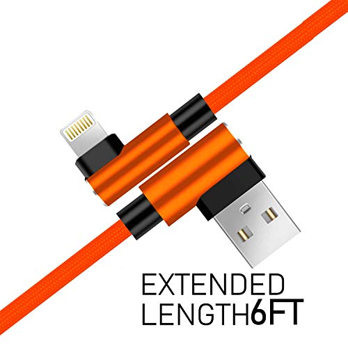 """Boost+ Right Angle Chargers Nylon Braided USB Cable 90-Degree Angled 72"""" Cord - 6 Feet (2-Pack)"""