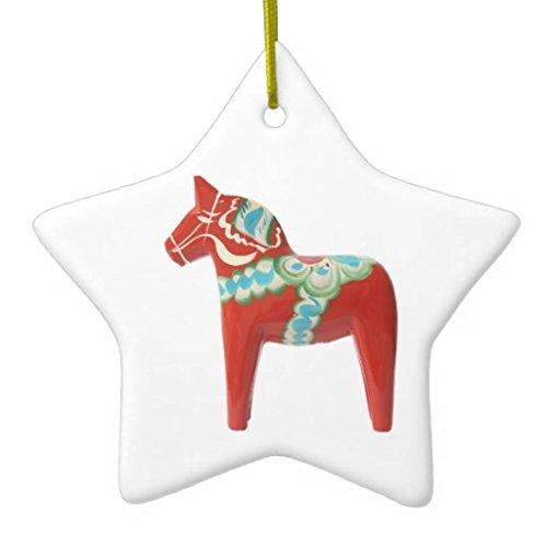 Christmas Ornaments Red Swedish Dala Horse Ceramic Ornament