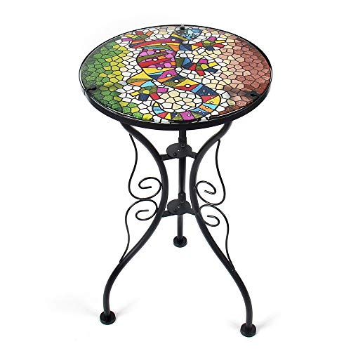 Liffy Outdoor Side Table Lizard Round Painted Gecko Glass Desk for Garden, Patio or Dining Room - 22 Inches High