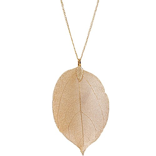 Humble Chic Filigree Leaf Necklace - Statement Dipped Pendant Long Chain Link, Gold-Tone -