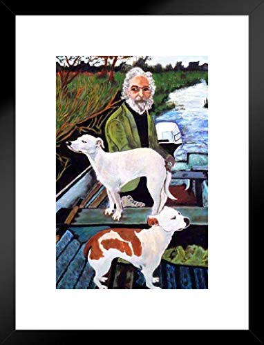 Poster Foundry Man in Boat with Dogs Movie Painting Matted Framed Wall Art Print 20x26 inch ()