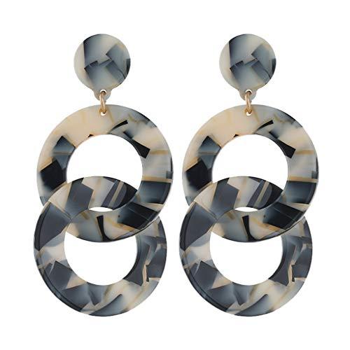 Korea Personality Creative Metal Acetate Sheet Geometry Wrap Chain Earrings Two Circle Insection Marble Women Jewelry Khaki