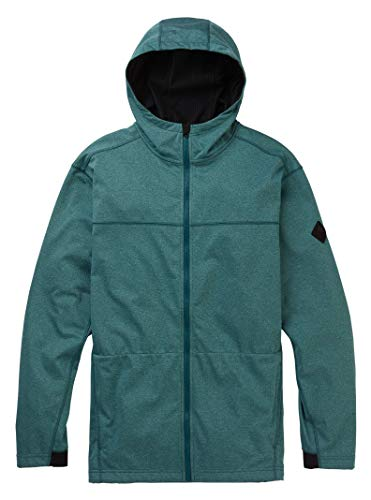(Burton Men's Performance Crown Bonded Full-Zip Hoodie, Deep Teal Heather, Medium)