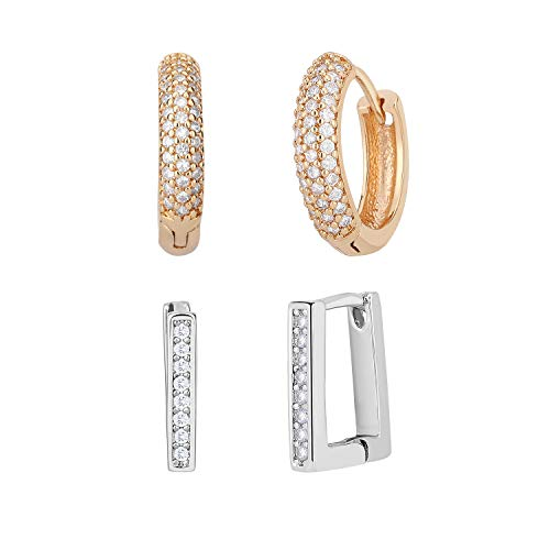 (Emibele Hoop Earrings, Well Plated Bronze Small Square and Hoop Huggie Earrings, Simple Elegant Pierced Earrings Fit Universal Occasions for Girls and Ladies - Champagne Gold + Platinum (2 pairs))