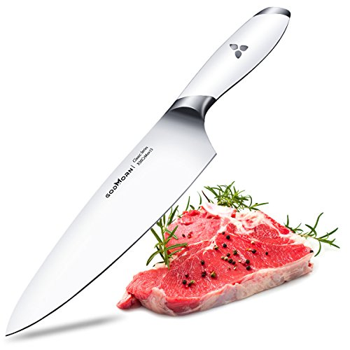 Chef Knife 8 inch, Godmorn Kitchen Knife Vegetable Knife, German High Carbon Stainless Steel, with Ergonomic White Handle, Ultra Sharp & Well Balance for Kitchen and Home