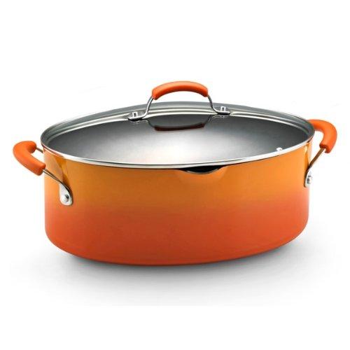 Rachael Ray Porcelain Enamel II Nonstick 8-Quart Covered Oval Pasta Pot with Pour Spout, Orange Gradient