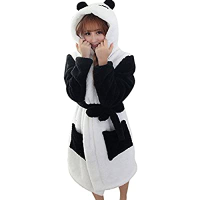 Cute Fluffy Animal Hooded Terry Bathrobe With Pocket &Belt Thick Plush Sleepwear