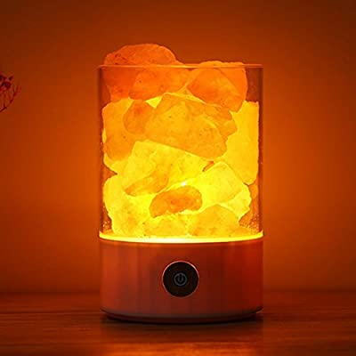 Natural Himalayan Salt Lamp in Clear Glass Holder with Dimmable Switch, with 7 Colorful Night Light, Air Purifying Ionic Natural Salt Crystal Lamp, Best Gift Idea
