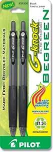Pilot BeGreen G-Knock Retractable Gel Ink Pens, Fine Point, 2-Pack, Black Ink (31500)