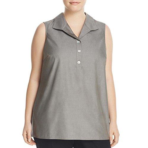 Foxcroft Womens Plus Woven Sleeveless Blouse Gray 16W