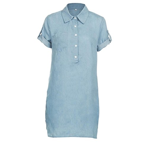 VEZAD Mini Dress Women Short Sleeve Dress Solid Denim Dress Turn Down Collar