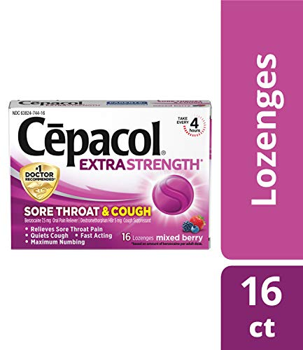 Cepacol Extra Strength Sore Throat Relief Lozenges, Mixed Berry Cough Drops, Maximum Numbing- Fast Acting Sore Throat & Canker Sore Relief with Dextromethorphan & Benzocaine, 16 Count (Best Numbing Cough Drops)