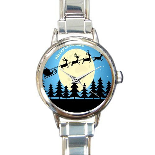 Personalized Watch Santa Claus with Reindeer Art Round Italian Charm stainless steel Watch
