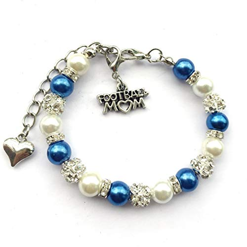 (DOLON College Or Pro Teams Football Mom Charm Bracelets Schools Sports Lover Spirits Colors Handmade Faux Pearl Beaded Crystal Jewelry White with Royal Blue)