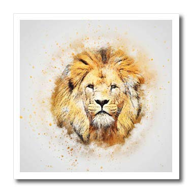 3dRose Lens Art by Florene - Watercolor Art - Image of Portrait Painting of Majestic Lion - 6x6 Iron on Heat Transfer for White Material (ht_300361_2)