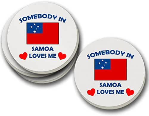 Somebody In Samoa Loves Me Sandstone Coasters Round Set of 4 Coasters Only