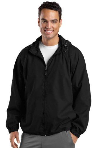Sport-Tek Men's Hooded Raglan Jacket 5XL Black (Jacket Hooded Warm Up)