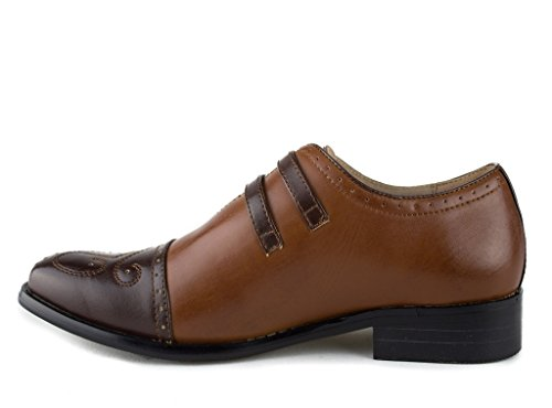 Strap Chocolate Men's Aldo J'aime Monk 95731 Double Leather Lined Cognac Toe Cap Shoes Dress p0qfa4xw