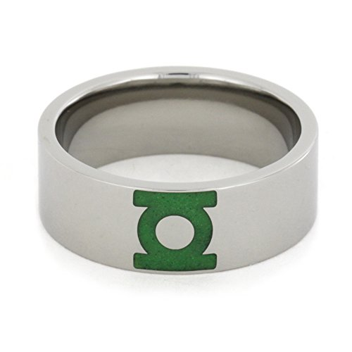 Engraved Green Lantern Insignia Symbol 8mm Comfort-Fit Titanium Ring, Size 8.5 by The Men's Jewelry Store (Unisex Jewelry) (Image #2)
