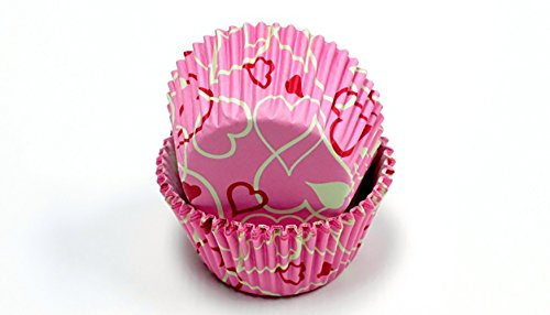 Chef Craft Valentines Day Hearts Cupcake Liners, Pink Red White, 50 CT
