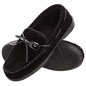 Heat Edge Mens Memory Foam Suede Slip On Indoor Outdoor Moccasin Slipper Shoe