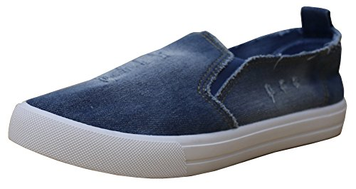 7 Flatform B M Slip Navy US Distressed Women Round azul 3 On Toe Fashion 's Denim S Sneaker Light 46qW7OSnz
