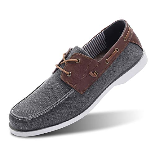 Classic Boat Shoes for Men-Smart Casual Work Loafer Stylish Moc Toe Walking Driving Shoes Grey 12