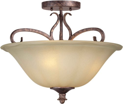 Spice Semi Flush - Forte Lighting 2317-03-21 Semi Flush Mount with Umber Sand Glass Shades, Rustic Spice