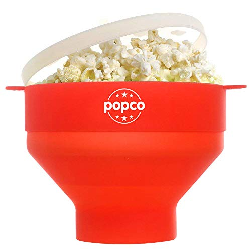 The Original Popco Silicone Microwave Popcorn Popper with Handles, Silicone Popcorn Maker, Collapsible Bowl Bpa Free and Dishwasher Safe (Red)