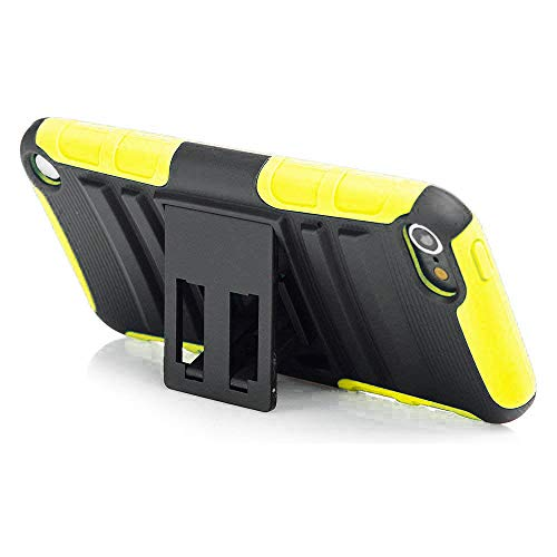 Silicon Video Ipod Case (iPod Touch 6th Generation Case, Rugged Hybrid Dual Layer Protection Kickstand Full Cover Case with Video Watching Stand for Apple iPod Touch 6 6th Gen 5 5th Gen (Yellow))