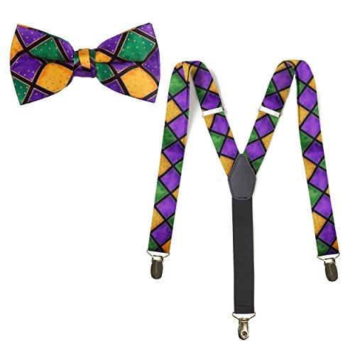 (Mardi Gras Bow Tie & Suspender )
