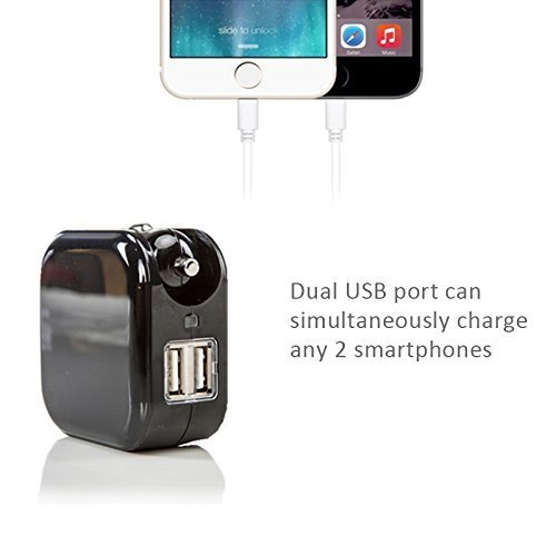 USB Wall Car Charger Combo,BOLWEO 2.1A 2-in-1 Dual Port USB Car Travel Charger,Home Wall Adapter with Foldable Plug Compatible iPhone 7/6Plus/5s,iPad,Samsung Galaxy S6 Edge/S5,HTC Kindle (Black)