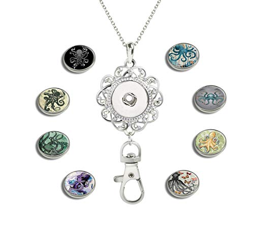 GDEE CUSTOM Womens Office Lanyard ID Badges Holder Necklace with 8pcs Image Glass Snap Charms Jewelry Pendant Clip (Octopus with Butterflies)