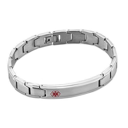 Heart of Charms Surgical Stainless Steel Medical Alert ID Bracelets Tag Emergency Bangle Cuff Bracelet