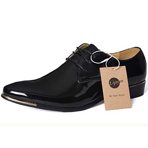 Z-joyee Mens Patent Leather Tuxedo Dress Shoes Lace up pointed Toe Oxfords Formal Wedding Shoes, Black, Us 9.5 (Patent Dress Shoes)