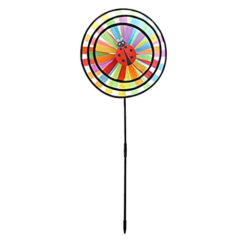 Thobu Childrens Day Gift Baby Kids Toys Gifts Colorful Rainbow Triple Wheel Wind Spinner Windmill Garden Yard Outdoor Decor